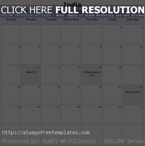 August 2019 Federal Holidays India
